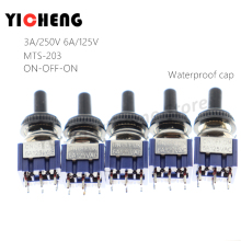5Pcs MTS202 MTS203 SPDT DPDT toggle switch rocker 6A/125V Waterproof cap push button MTS-202 MTS-203