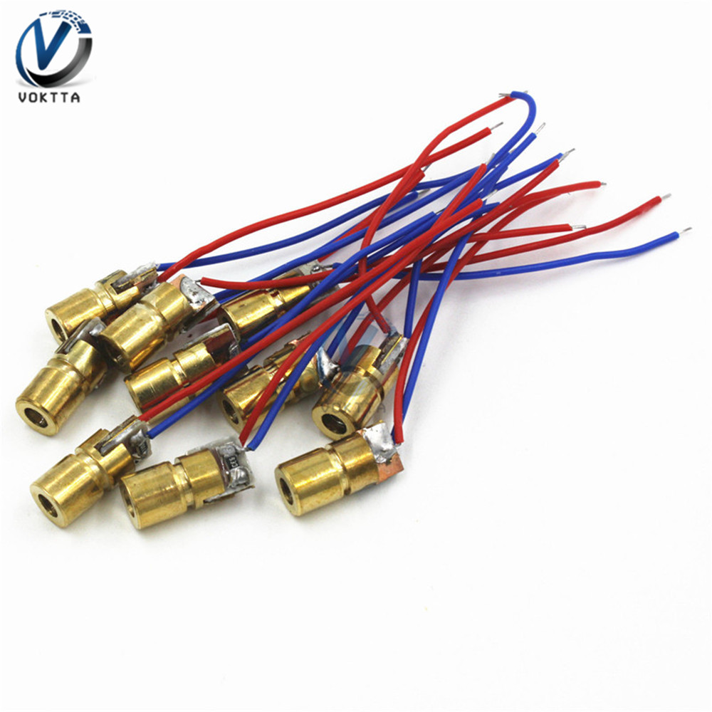 5Pcs 3V 5V 650nm 6mm Red Dotted Small Laser Module Internal Dimming Copper Head Mini Laser Pointer