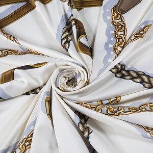 Image 3 - 新しいベルトチェーン 130 センチメートル正方形スカーフ高級ブランドのスカーフ女性ツイルシルクスカーフ女性のハンカチショールecharpe tuaban
