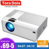 Tora Dola Mini Projektor 3D Home Cinema, LED Beamer, HDMI Video Proyector Unterstützung 1920x1080P Full HD Projektor | TD90/T90s