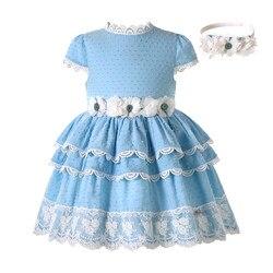 Pettigirl menina azul valentine vestido para verão flor menina vestidos de princesa para o casamento com hairclips