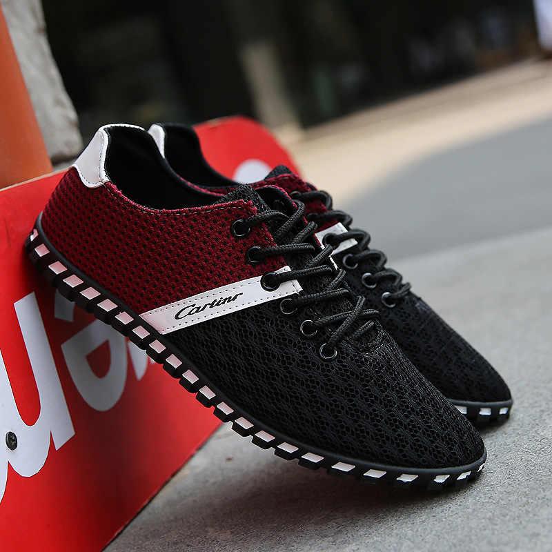 2019 летняя повседневная обувь для мужчин, дышащая сетчатая обувь, уличные кроссовки, мужская обувь на плоской подошве со шнуровкой, большие размеры, zapatos hombre