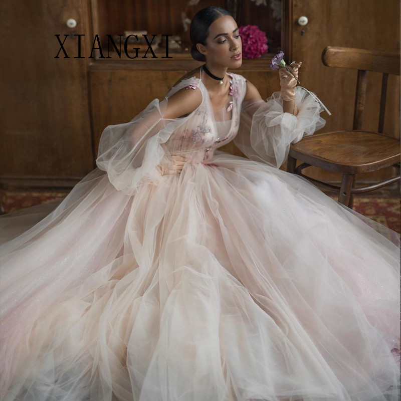 Youthful Evening Dresses Tulle A-Line V-Neck Full Sleeves Lace Appliques Sweep Train Evening Party Dress Robe De Soiree Vestidos