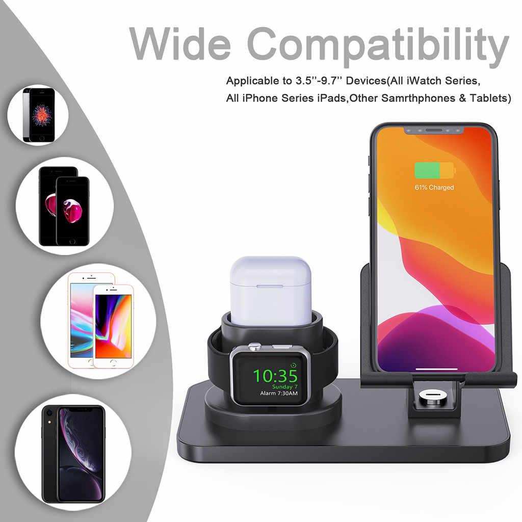 Base de carga 3 en 1 para iPhone X XR XS Max 8 7 6 6S 5 Apple Watch 4 3 2 1 cargador airpods soporte para Apple Soporte para reloj estación