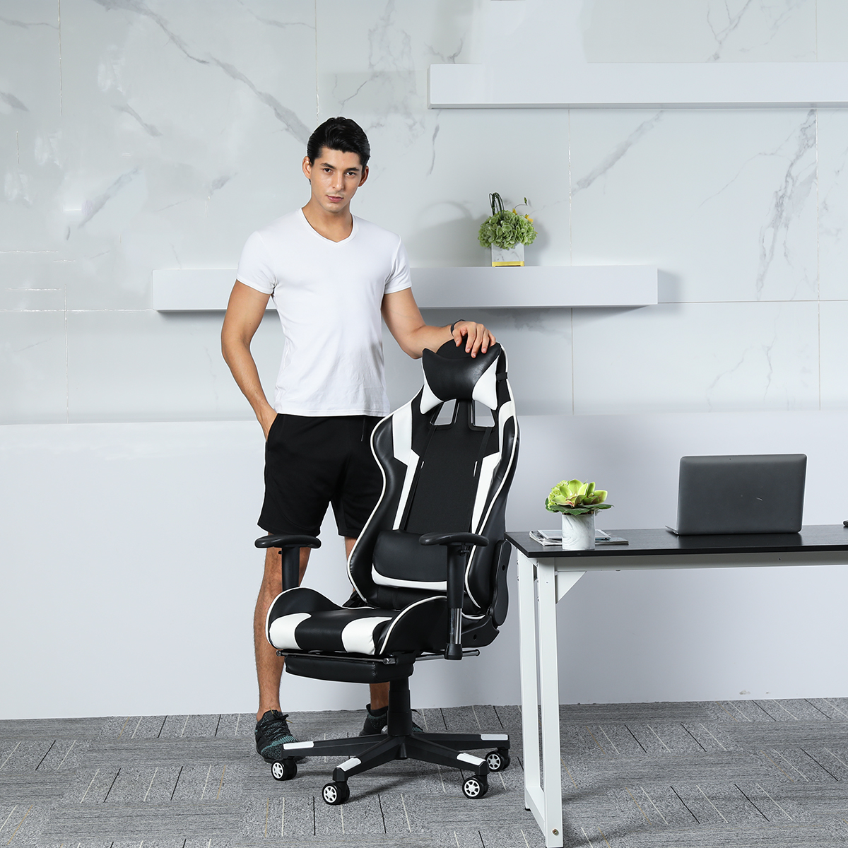 Office Gaming Racing Chair Leather Reclining Ergonomic 180° Lying Computer Internet Cafe Executive Chair Adjust Seat Footrest