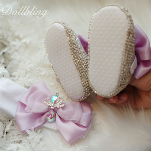 Image 4 - يونيكورن مستوحاة رائع الأرجواني لوليتا Bowknot الملكي تاج تصميم AB كريستال الوليد سرير أحذية هدايا للتعميد