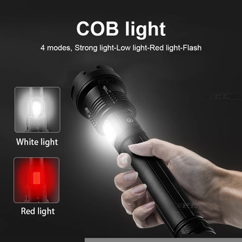 XHP160 COB Led Flashlight 18650 or 26650 Usb Tactical Flash Light XHP70.2 Rechargeable Led Lantern Zoom Hunting Bright Work Lamp 4