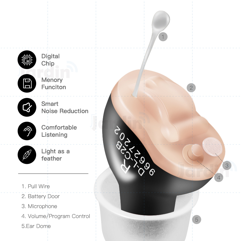 CIC Digital Hearing Aids 6 Channels 12 Bands Mini Tuneable Sound Amplifier Portable Invisible Hearing Aid Dropshipping