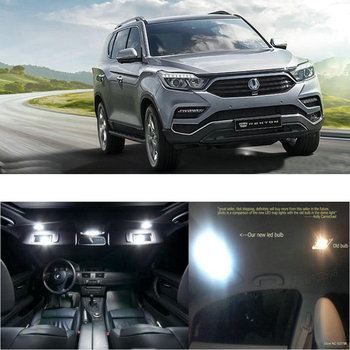 LED Interior Car Lights For SsangYong rexton g4 room dome map reading foot door lamp error free 6pc led interior car lights for hyundai grand starex 2013 room dome map reading foot door lamp error free 16pc