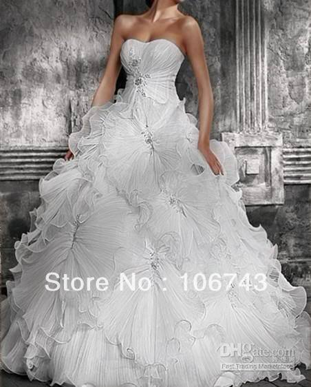 Free Shipping 2016 New Style Hot Sale Sexy Bridal Wear Ball Gpwn Sweetheart Princess Custom Size Crystal Ruffles Wedding Dresses