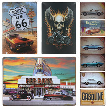 Letrero de estaño de arte de pared de Metal de autobús Route 66, regalo, placa Vintage, decoración para el hogar, coche Retro, carteles de Metal, pegatinas de pared de cuevas para hombre
