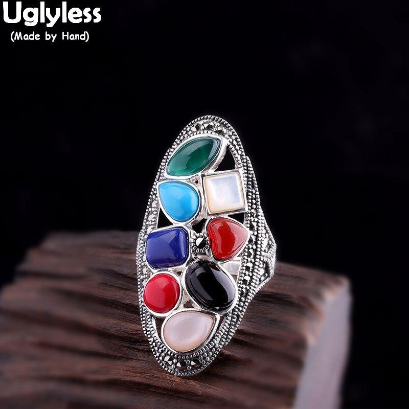Pierres précieuses colorées sans Uglyless Puzzle anneaux pour femmes exagérées grand ouvert anneaux réel 925 Thai argent Marcasite Fine bijoux R950