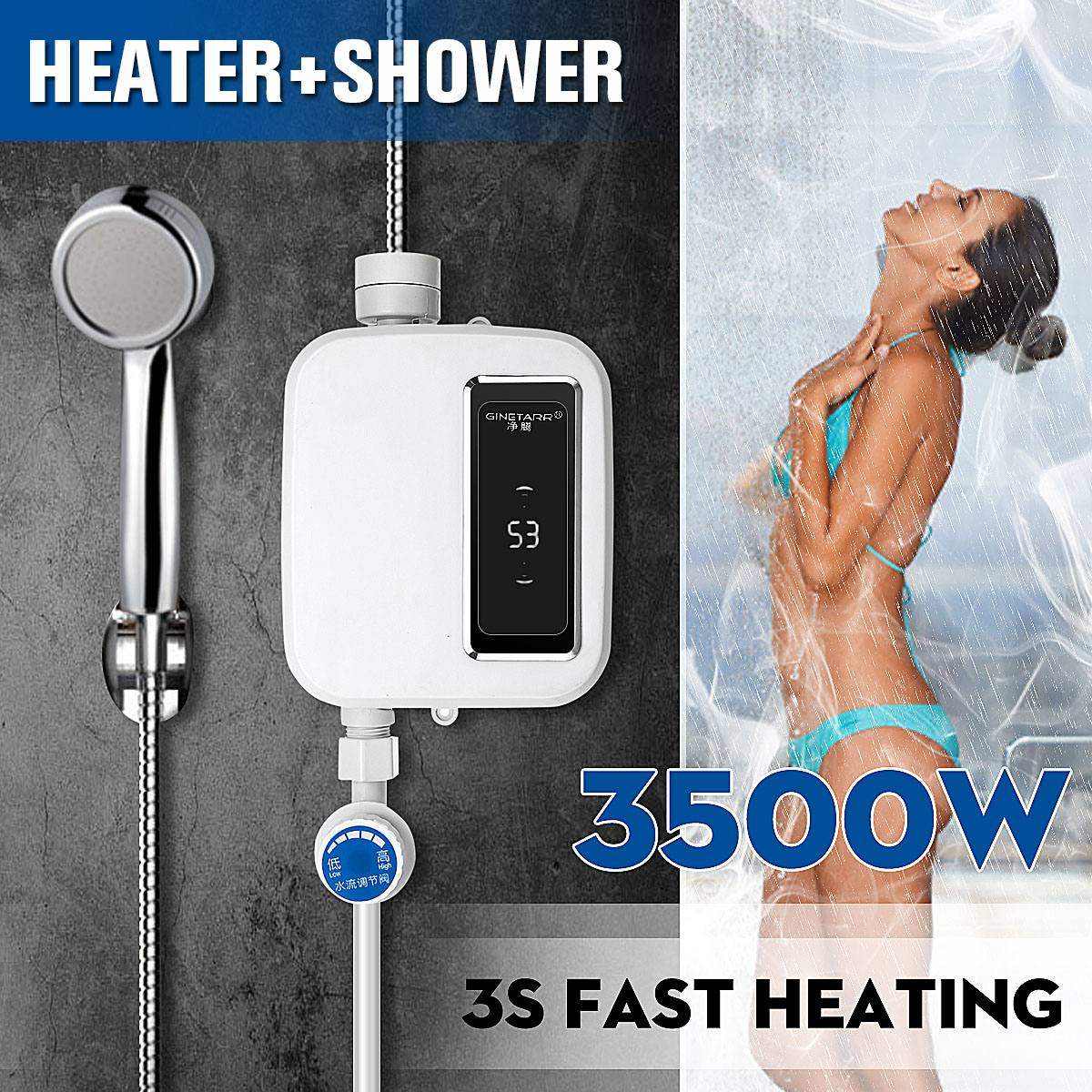 220v Water Heater Bathroom Kitchen Instant Electric Hot Water Heater Tap Temperature Display Faucet Shower Tankless Tap