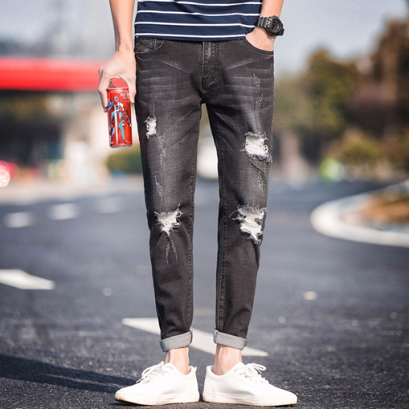 Elasticity Men Capri Jeans Summer Popular Brand Slim Fit Korean-style Trend With Holes 9 Points Skinny Pants Versatile Pants