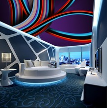 Custom ceilings Abstract colorful spiral lines mural sky ceiling wallpaper