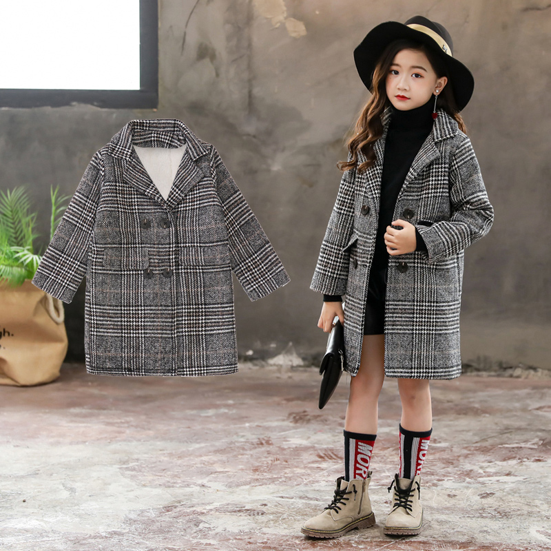 Velvet Thick Winter Girls Cotton Long Jackets Kid's Outerwear Clothes Toddler Children Casual Turn-down Collar Plaid Woolen Coat