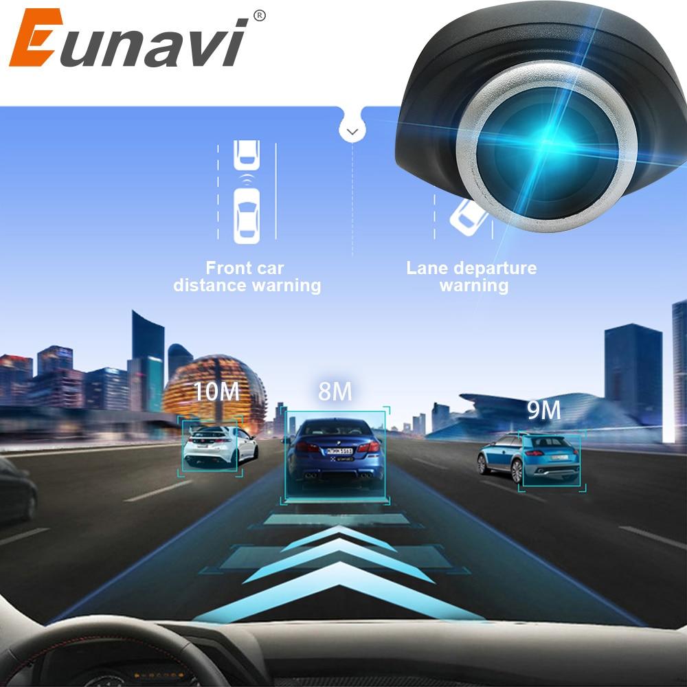Eunavi-caméra DVR de voiture, avec connecteur USB pour véhicule, HD 1280x720 px, pour système OS Android, mini caméra enregistreur de voiture avec ADAS