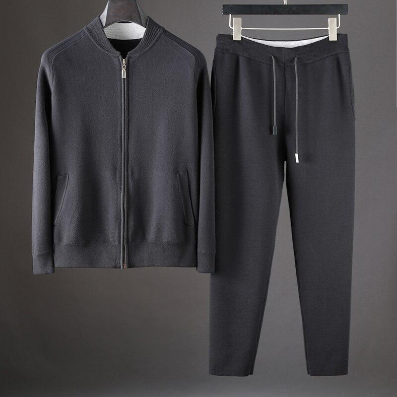 JSBD Brand Men's Casual Stand Collar Two-piece Men's Contrast Color Pilot Jacket Cashmere Baseball Shirt Set