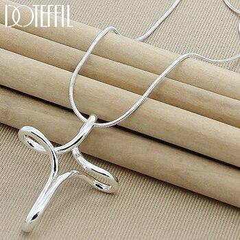 DOTEFFIL 925 Sterling Silber Kreuz Anhänger Halskette 18 Inch Snake Kette Für Frau Mode Hochzeit Engagement Party Schmuck