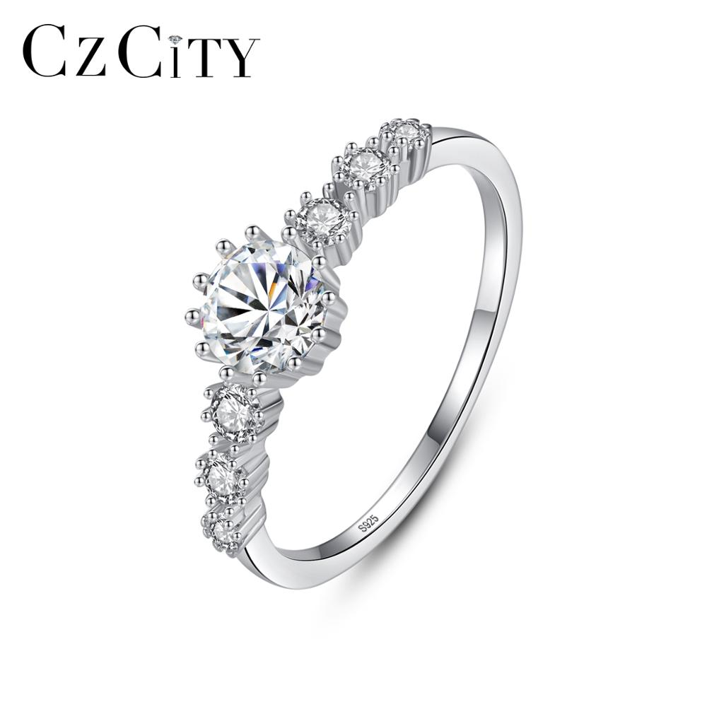 CZCITY Real 100% 925 Sterling Silver Classic Finger Rings For Women Bridals Wedding Engagemen With CZ Fine Jewelry Bijoux SR0370