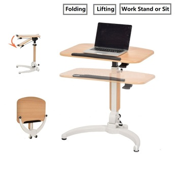 Adjustable Manual Lifting Ergonomics Simple Office Computer Table Bed Portable Laptop Can Be Lifted Standing Desk 70*40 CM