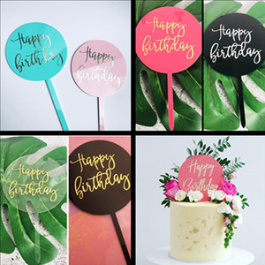 Round Happy Birthday Cake Topper Hot Stamping Acrylic Letter Cake Top Flag Decoration for Boy Girl Birthday Party Supplies G