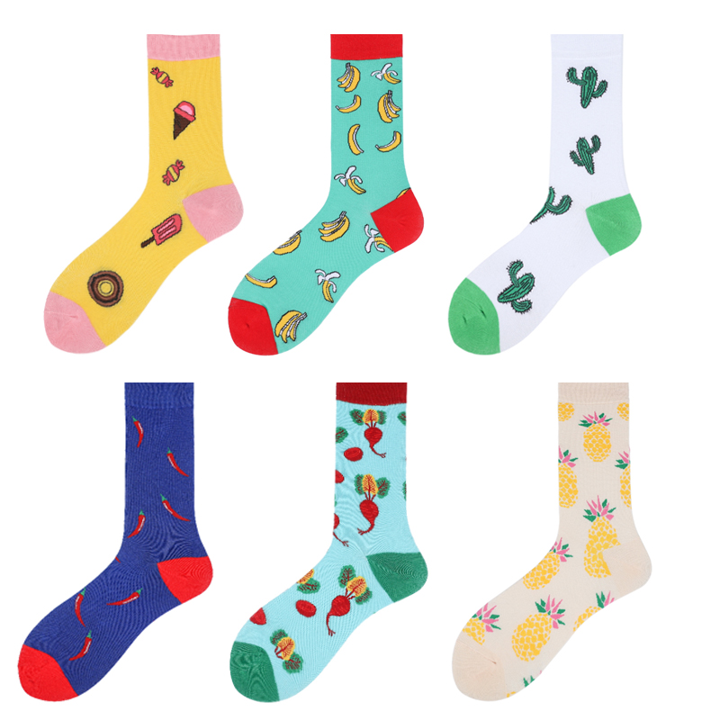 Fruit Women Cotton Socks Men Banana Broccoli Kiwifruit Pineapple Strawberry Orange Lemon Chilly Icecream Casual Pretty Crew Sock