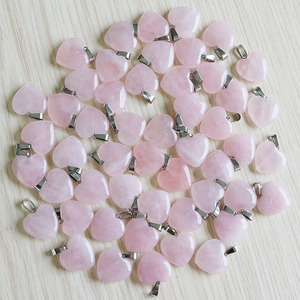 Image 2 - Fubaoying Natural Crystal Pink Heart Necklace Stone Pendant 20mm 50pcs Lot Charms For Jewelry Making