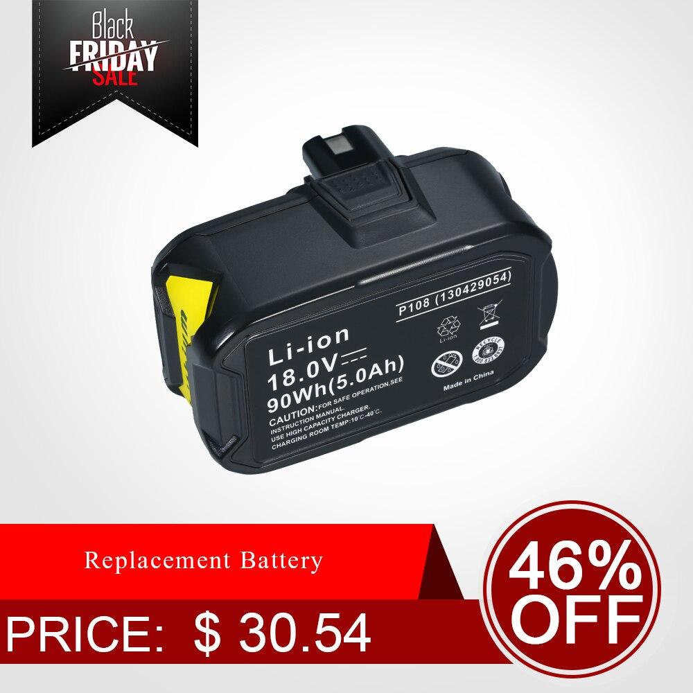 Replacement Battery For Ryobi 18V 4000mah/5000mah/6000mah Li-ion Charger For Ryobi One+ P103 /P108 Cordless Drill Kit