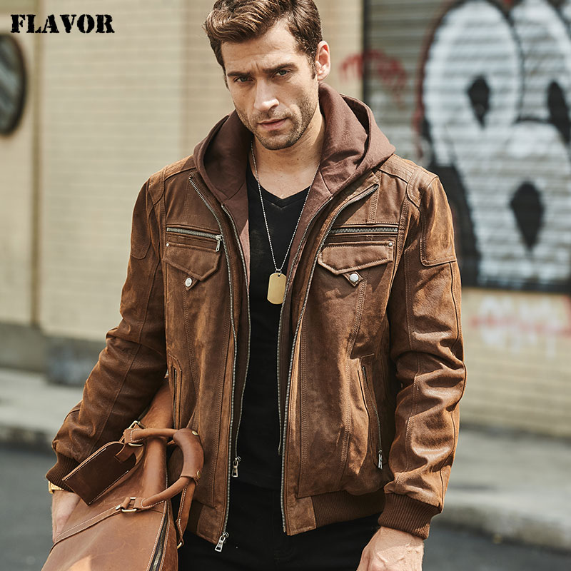FLAVOR New Men s Real Leather Jacket with Removable Hood Brown Jacket Genuine Leather Warm Coat Innrech Market.com