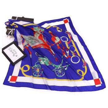 carriage lady printing high quality silk scarf spring summer square 90cm yarn Shawl beauty scarves