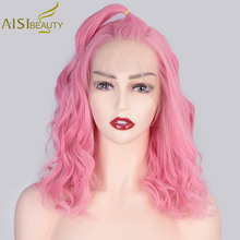 AISI BEAUTY 13*4 Pink Synthetic Lace Front Wigs for Women Wavy Lace Wig