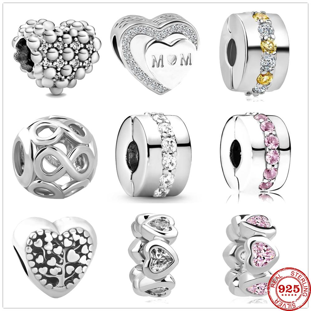 Fit Original Pandora Charms Bracelet 925 Sterling Silver White Zircon Shining Path Clip Charm Bead DIY Jewelry Making Berloque(China)
