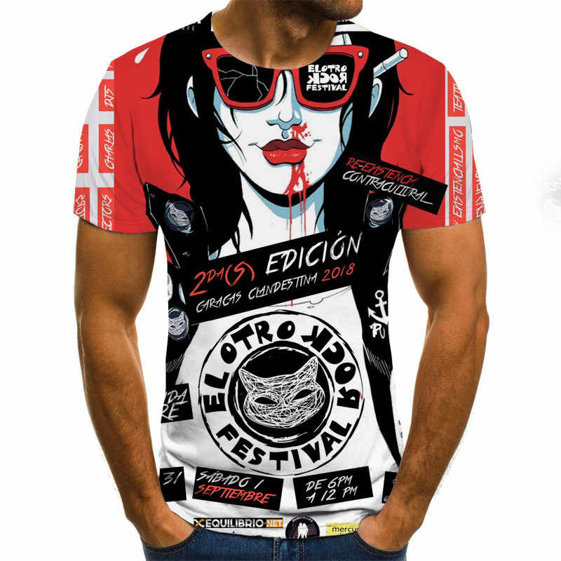 2020 Mens Horror T Shirt di Moda Dei Nuovi Uomini di Estate Manica Corta T-Shirt Casual 3D Zombie Rock Stampa Tshirt per uomo Pieno Stampato