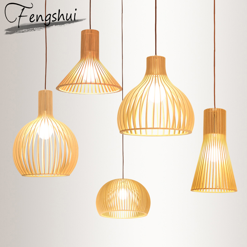 Nordic Led Wood Pendant Lights Pendant Lamps Fixtures ...