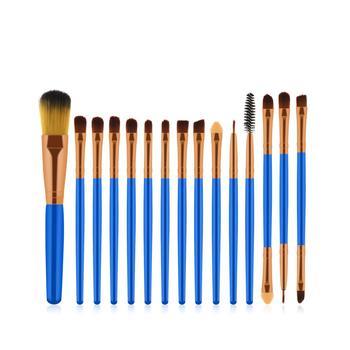 15pcs Blue Brown/ Gold Makeup Brush Makeup Tools Eyeshadow Brush Foundation Brush Blush & Makeup Brush Makeup Tools