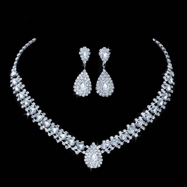 Shining Wedding Bridal Jewelry Sets Drop Earrings With Stones Austrian Crystal Necklaces Set Imitation Jewellery 11.11 Sale