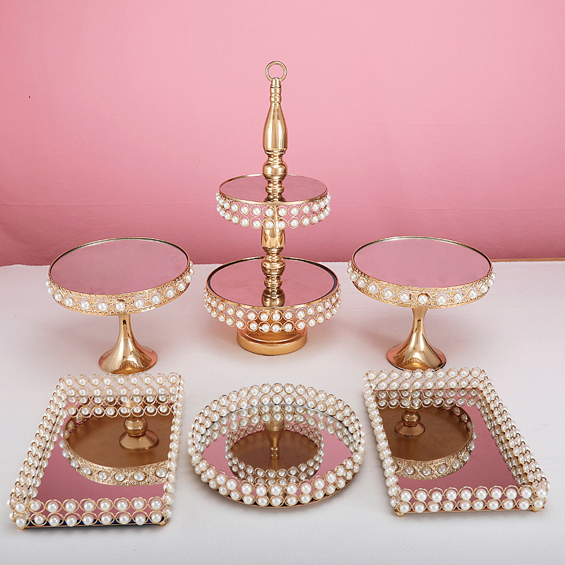 3-7pcs new style peral cake stand gold color Decorating Wedding Cupcake stand afternoon tea