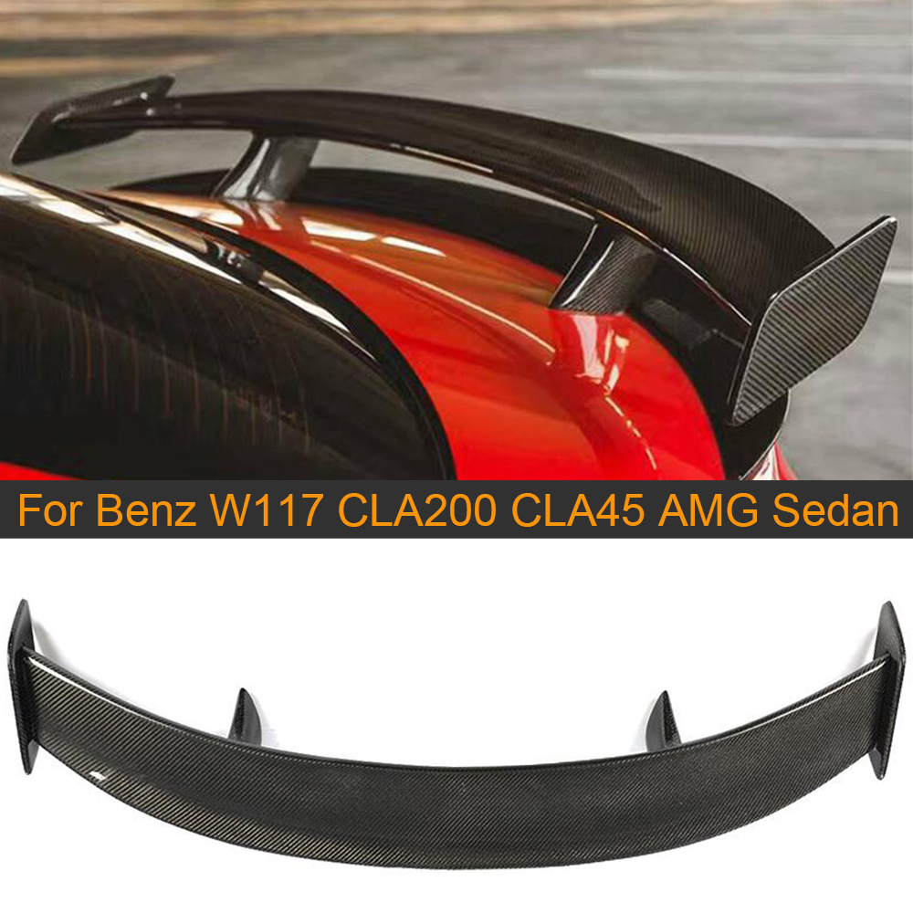 Car Rear <font><b>Spoiler</b></font> for Mercedes-Benz CLA Class W117 <font><b>CLA200</b></font> CLA45 AMG Sedan 2013-2019 Carbon Fiber Rear Trunk <font><b>Spoiler</b></font> Boot Lip Wing image