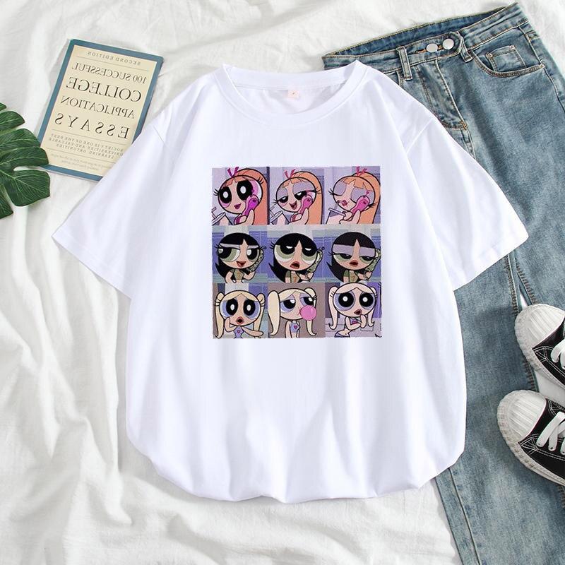 2019 Kawaii Buttercup Powerpuff Harajuku Women Hip-hop Ulzzang Korean Style Cartoon Print Girls T-shirts Summer Fashion