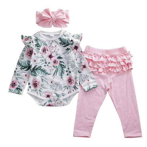US Newborn Infant Baby Girl Leopard Print Clothes Tops Romper Shorts 3PCS Outfit
