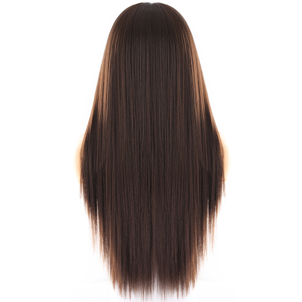 Image 4 - Yaki Straight Synthetic Lace Front Wigs For Women Brown Black Color Hairpiece With Natural Hairline Heat Resistant Fiber X TRESSSynthetic Lace Wigs   -