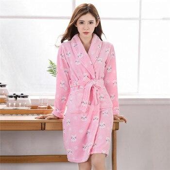 Casual Kimono Robe Bathrobe Gown Long Sleeve Nightwear Home Clothes Coral Fleece Winter Dress Sleepwear Flannel Nightgown 3XL - discount item  45% OFF Women's Sleep & Lounge