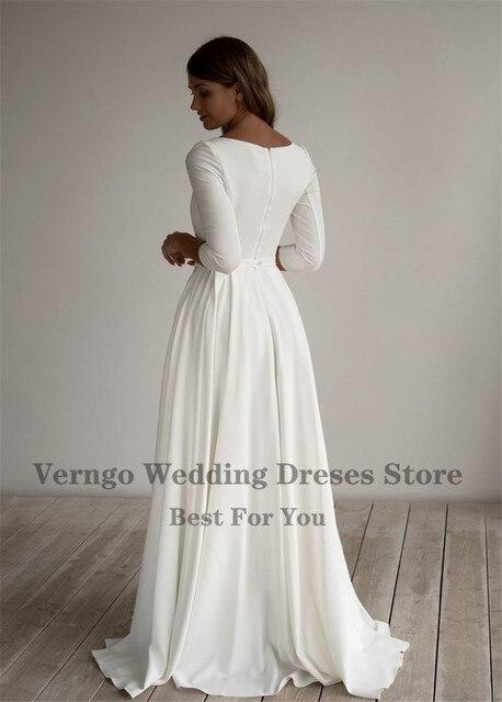 Verngo Simple Wedding Dress Long Sleeves A Line Crepe Boat Neck Elegant Bridal Dresses With Pockets Plus Size robe de mariee 5