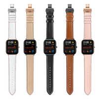 Motyl klamra skórzany pasek dla Xiaomi Huami Amazfit GTS/GTR 47mm 42mm pasek zegarka dla Amazfit Bip/Stratos 3 bransoletki zespoły