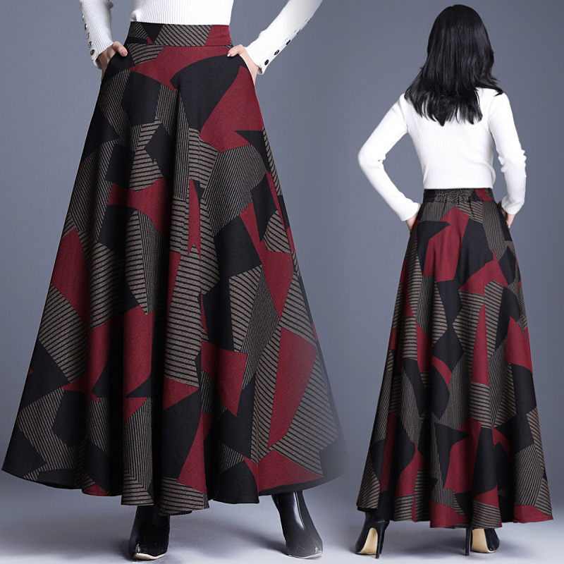 Women A-Line Skirt Elegant Geometric Elastic Waist Long Woolen Maxi Skirt Warm Autumn Winter Female Umbrella Skirt Plus Size