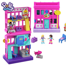 Original Polly Pocket Mini Cute Store Box Girls Car Toys Children Education Toy Baby Girl Gift Doll Accessories Juguetes