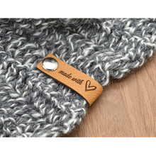 30pcs Leather labels with rivets Custom handmade tags for crochet knitted items Brand logo sew on clothing label DIY Accessories