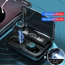 TWSテクノロジーを搭載したワイヤレスヘッドセット,Bluetoothを搭載した防水スポーツデバイス,ステレオ,充電ボックス付き