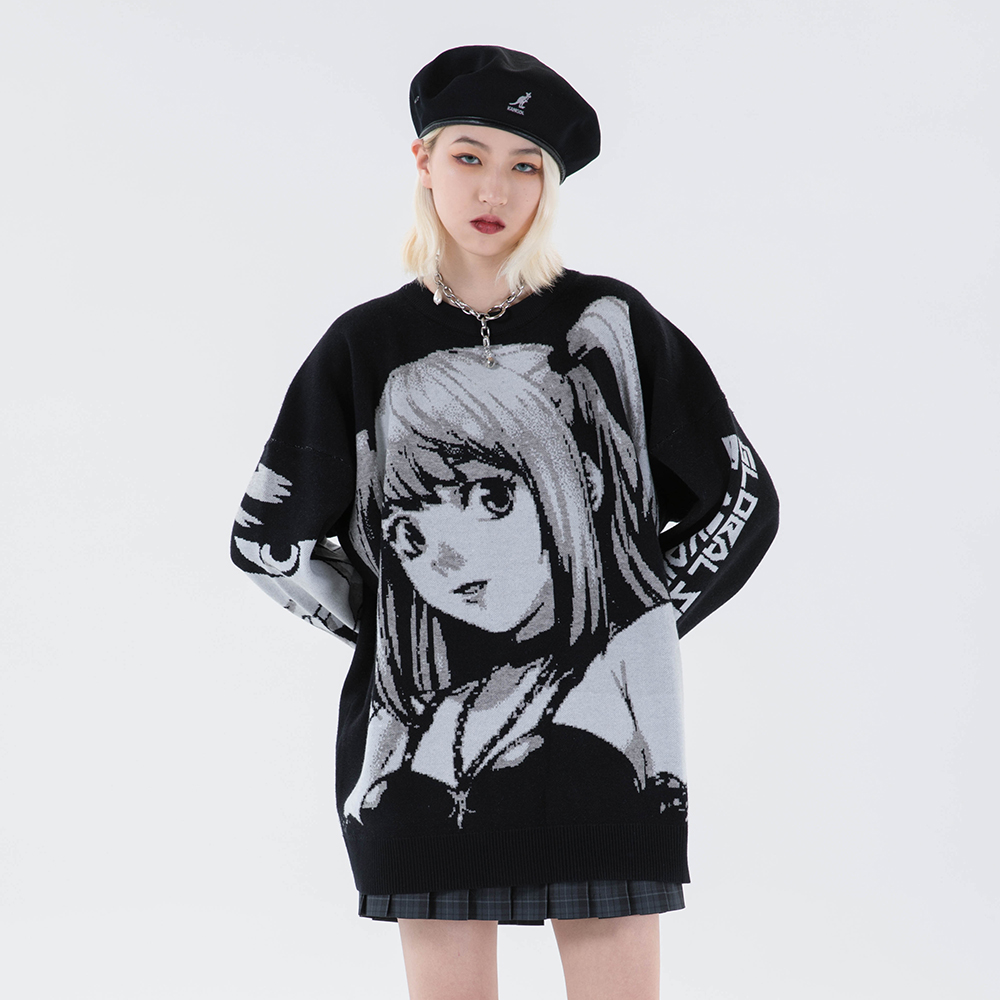 Gestrickte Harajuku Winter Kleidung Frauen 2020 Übergroßen Pullover Langarm Top Gothic Mode Japanischen Kawaii Cartoon Streetwear